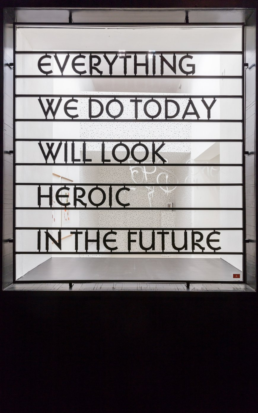 Jasmina Cibic, Everything We Do Today Will Look Heroic in The Future, 2018, iron, 177 x 158 x 6 cm