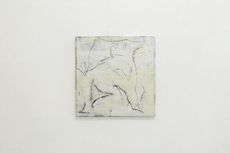 Nora Kapfer, untitled, 2018, bitumen, oil, felt pen and paper on wood, 61 x 60 cm