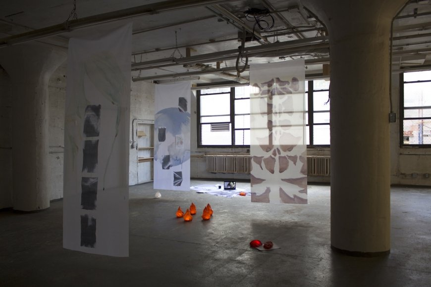Hanging of Traitors in Effigie part 2, 2019, installation view, Pencil Factory, New York