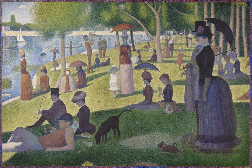 Georges-Pierre Seurat, French, 1859-1891. A Sunday on La Grande Jatte,1884, 1884-86, painted border 1888/89. Oil on canvas. 81 3/4 x 121 1/4 in. (207.5 x 308.1 cm) The Art Institute of Chicago, Helen Birch Bartlett Memorial Collection, Detail