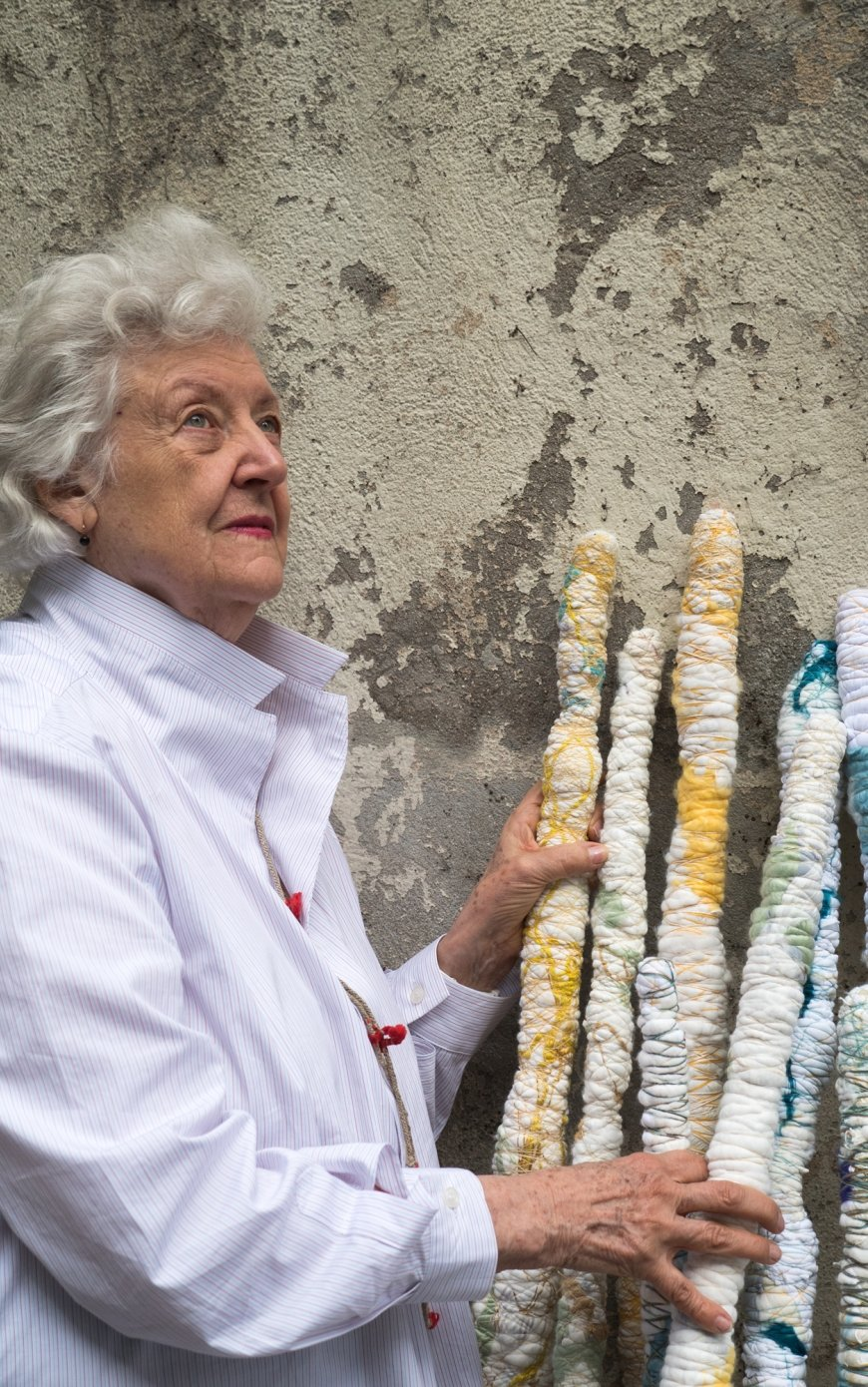 Sheila Hicks, Right of Expression (work in progress), Bamboo, pigmented acrylic, nylon, 2016-2018, | Foto: Cristobal Zanartu