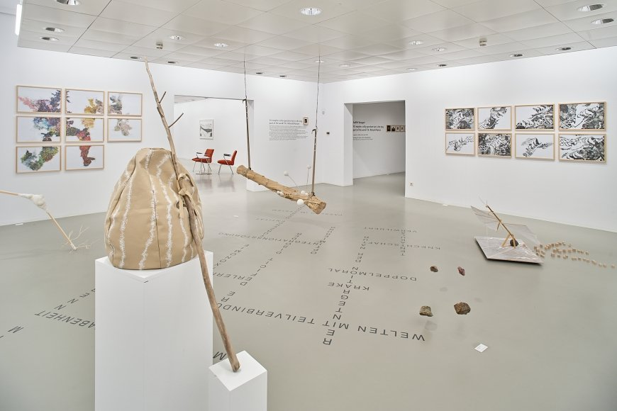 Judith Saupper, It's maybe a silly question but is the dog part of the work? Or: Rebuild Nature, Installationsansicht Galerie Hollenstein – Kunstraum und Sammlung (Foto: Miro Kuzmanovic)