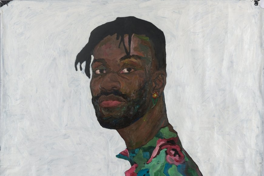 Amoako Boafo, BOY WITH FLOWER EARRING 1, Öl auf Papier, 100 x 100 cm, 2018, Foto: Rudi Froese Photography