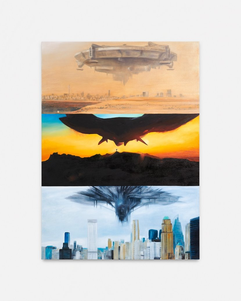 "Mathis Gasser, Objects in the Sky (District 9 / Childhood's End / The 5th Wave), 2019, Oil on canvas, 145 × 105 cm (57.125"" × 41.375"")"