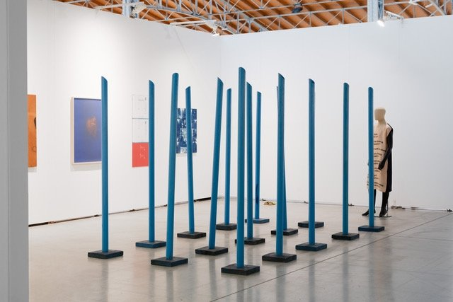 Stano Filko at Emanuel Layr A14/B13 | Stano Filko, Blue Verticals in Space, 1966-67 | Courtesy Galerie Emanuel Layr | Photo: Maximilan Anelli-Monti