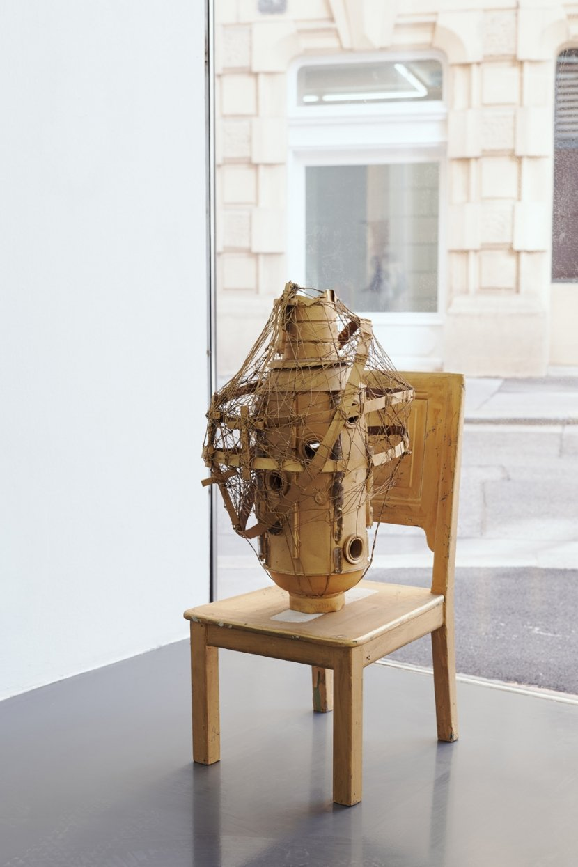 Stano Filko, Monstrance on chair, Found object, wood, mixed media, 96 x 45 x 47 cm