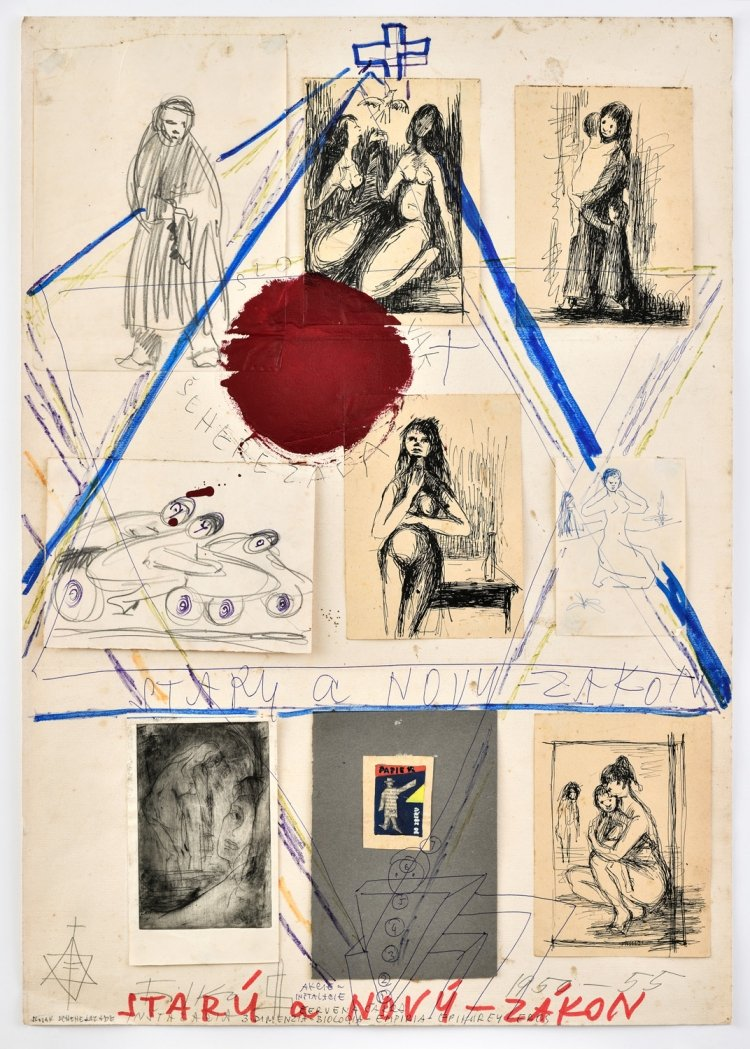 Stano Filko, From the cycle Old and New Testament, Collage, painting, felt-tip pen, pencil on paper, 84.5 x 59.5 cm