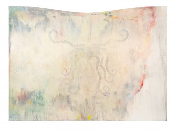 Sophie Reinhold, o.T. (old Thought), 2018, Oil on marble powder on Canvas, 278 x 200 cm
