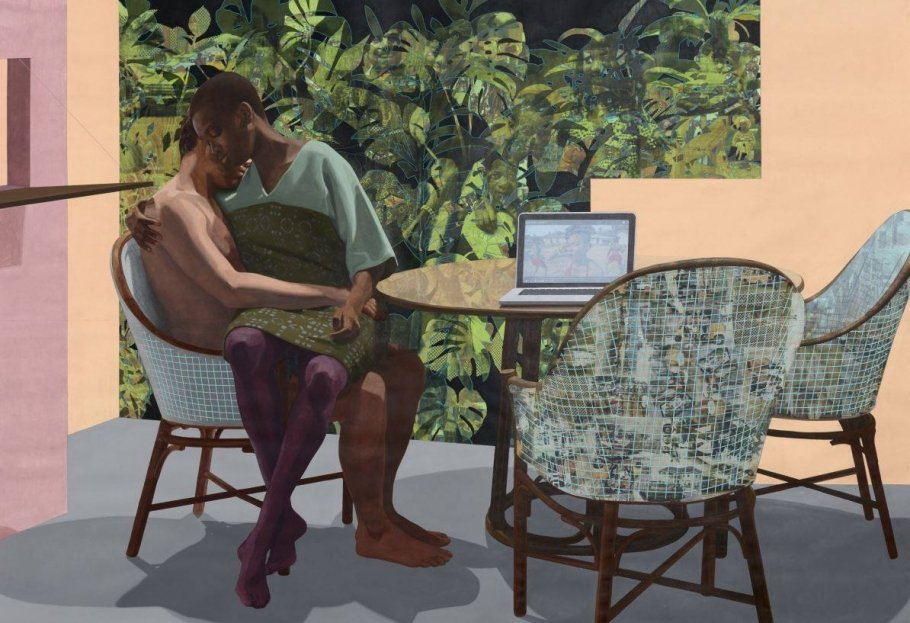 Njideka Akunyili Crosby, Garden, Thriving, 2016 © Njideka Akunyili Crosby, Courtesy the artist, Victoria Miro, and David Zwirner, Photo: Robert Glowacki