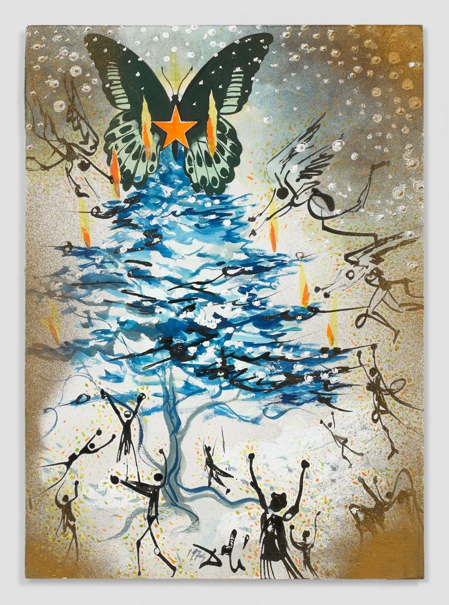 Salvador Dalí, Sapin de Noël (Mariposa estrellada), 1974, Watercolor, gouache, acrylic and India ink on paper; signed and dated lower center, 34,70 x 24,50 cm | Estimate : 40.000/60.000€ © Artcurial
