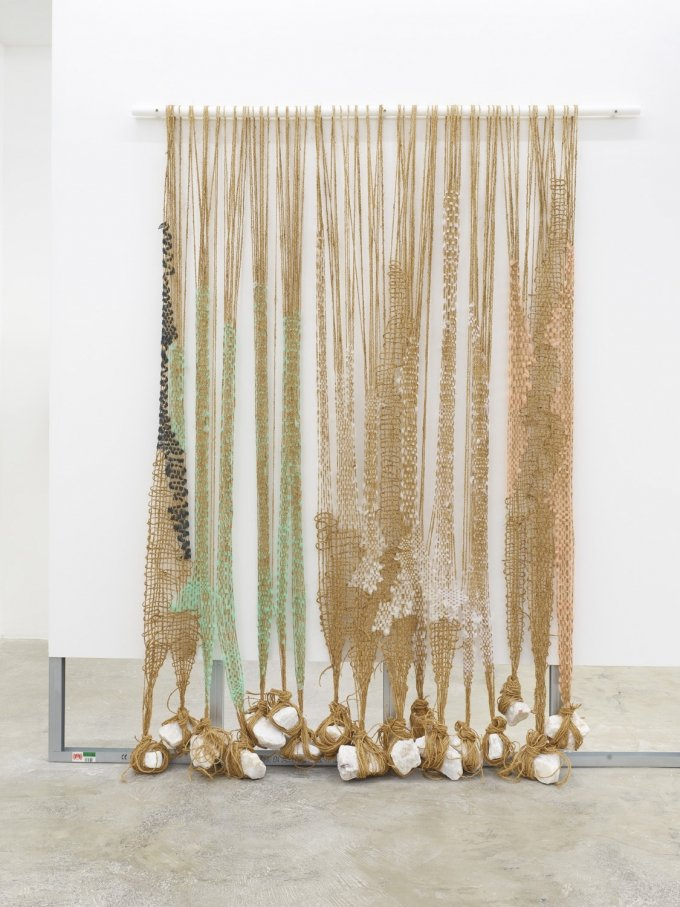 Ann Cathrin November Høibo, Definitely Maybe, 2019, Coconut threads, tulle, stones (white quartz), acrylic bar, 240 × 180 × 25 cm