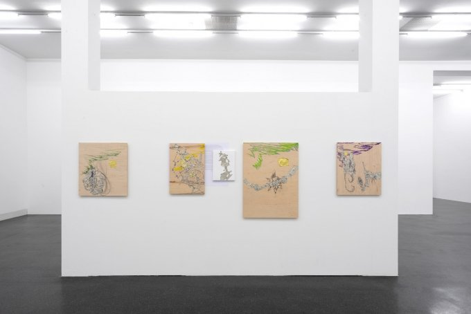 Installation view, Josef Strau, How to be an Angel Painter, Galerie Francesca Pia, Zurich 2019. Photo: Flavio Karrer