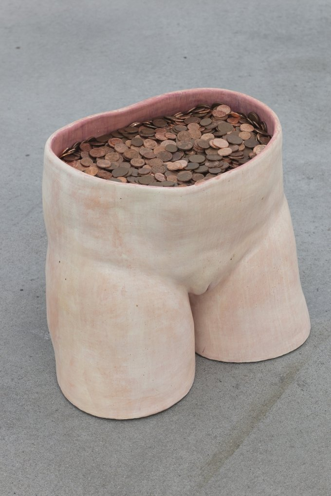 Aline Bouvy, Primitive Accumulation, 2019, fired clay, aquarelle, eurocents