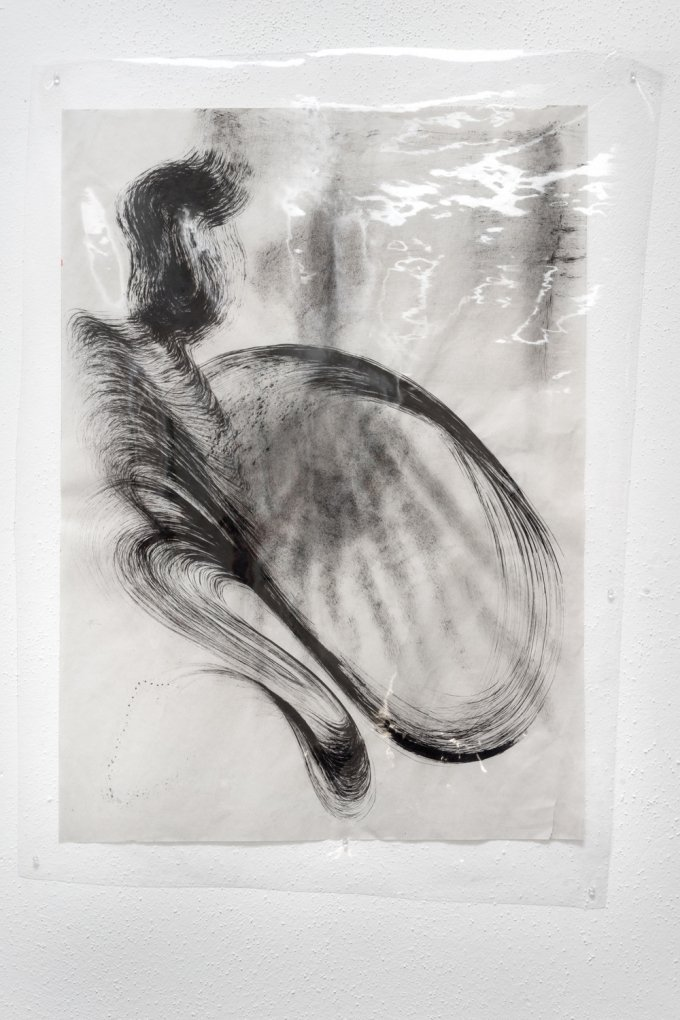 Maria VMier,Untitled [black], 2019, Indian ink on newsprint, installed underneath soft PVC film, approx. 41 x 59 cm
