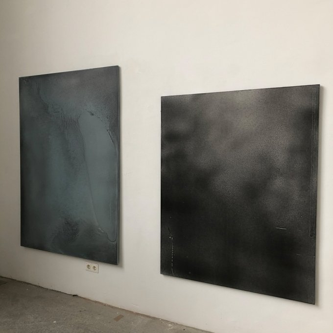 Andrea Zabric, untitled (graphite painting series nr. VII), 2018-2019, pigment and lacquer on MDF, 177 x 125 cm Andrea Zabric, untitled (graphite painting series nr.I), 2018-2019, pigment and lacquer on MDF, 148 x 120 cm