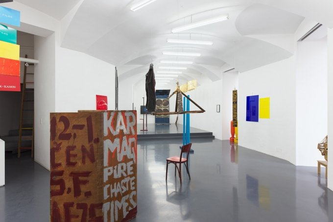 MULTIMODAL GOOGLIFICATION OF COSMOLOGY-ORIENTED DIAGRAMMATIC EXPERIMENTATIONS OF STANO FILKO, curated by Boris Ondreicka, Installation view, Galerie Emanuel Layr, Vienna, 2019