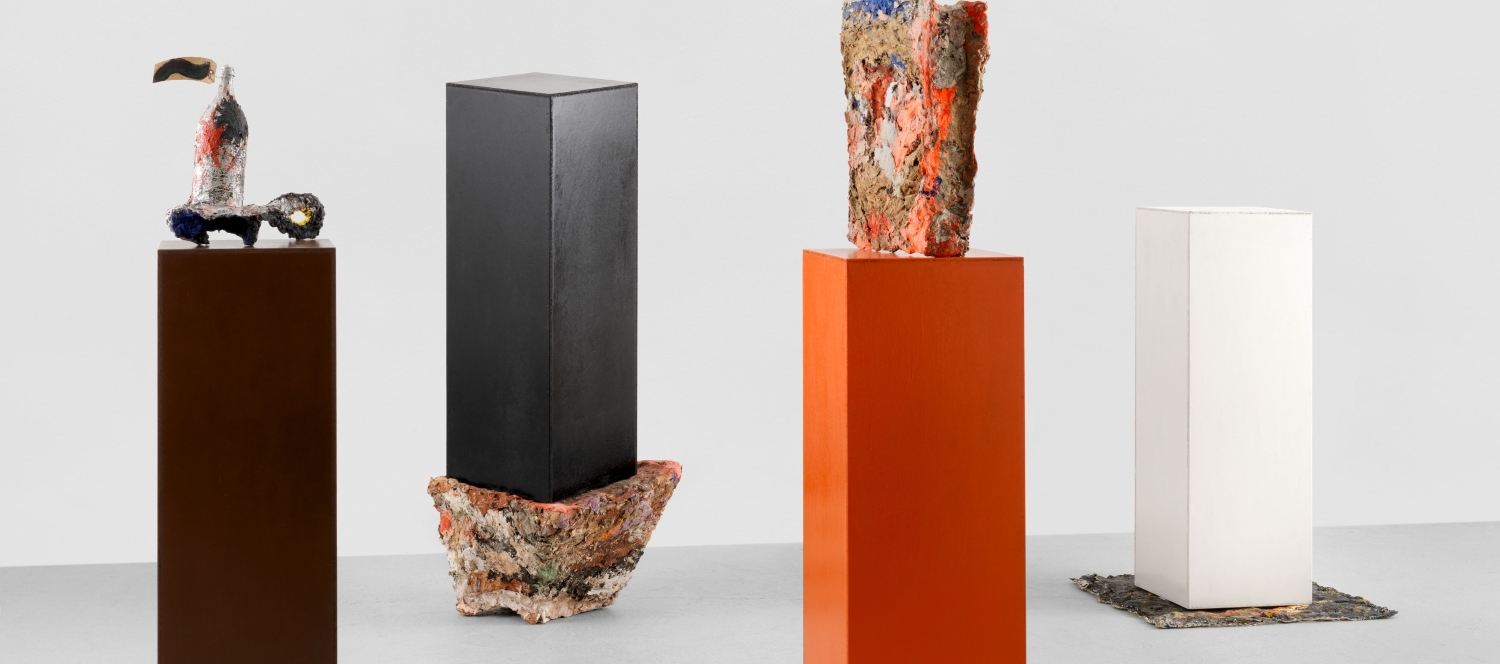 Franz West, Herbert Brandl, Otto Zitko and Heimo Zobernig, Untitled 1988, Wood, papier mâché, paint, Hauser & Wirth Collection, Switzerland © Estate Franz West © Archiv Franz West | Foto: Stefan Altenburger Photography Zürich