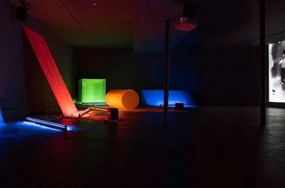 Keith Sonnier Dis-Play II (1970) and Film and Videos (1968-1977) Installed at DIA/Dan Flavin Institute 2018, Bridgehampton, New York Photograph © Caterina Verde. © Keith Sonnier ©Artists Rights Society (ARS) New York