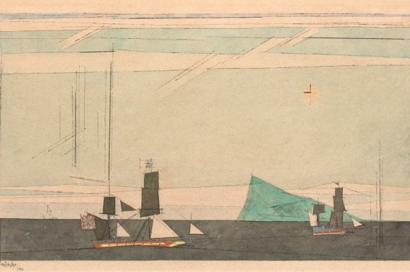 Lyonel Feininger, Two Sailing Ships and Iceberg, 1942, Gouache, Aquarell, Feder und Tusche auf Papier, 55,1 × 77,3 cm (21,7 × 30,4 in)