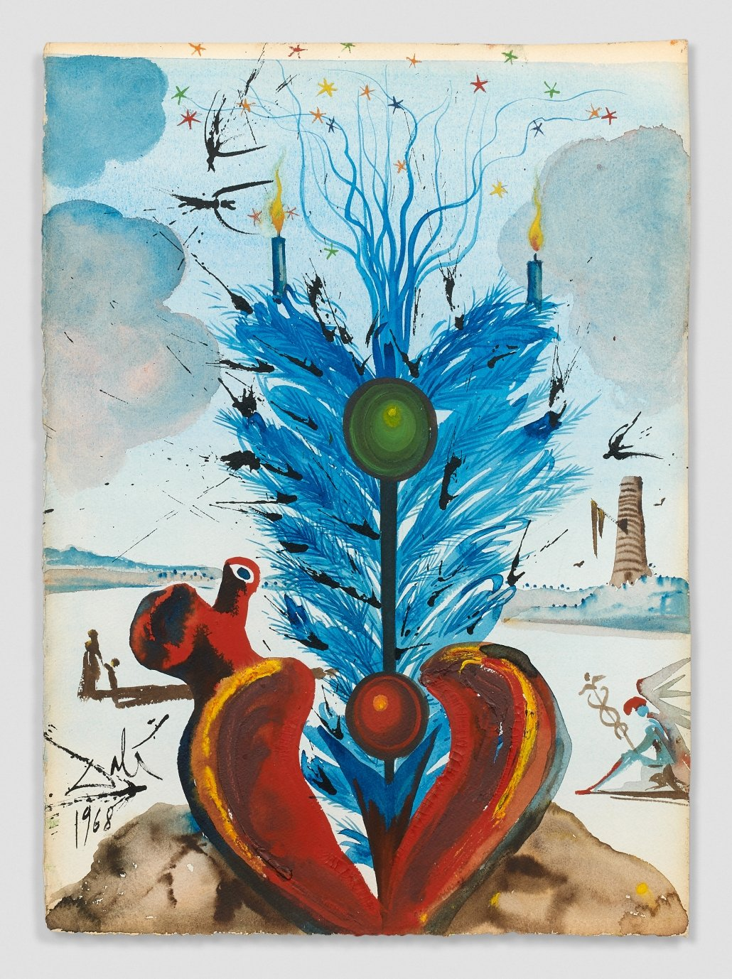 Salvador Dalí, Coeur (Corazon), 1968, Watercolor, gouache and India Ink on paper; signed and dated lower left, 43,80 x 31,30 cm | Estimate: 60.000/90.000€ © Artcurial